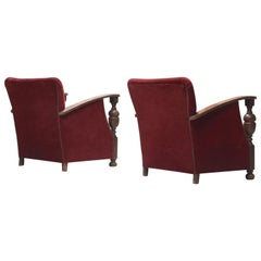 Dutch Art Deco Armchairs in Oak and Red Mohair, circa 1930s