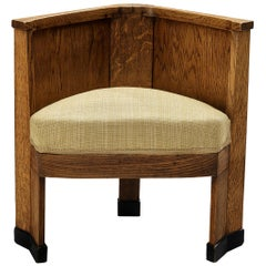 Dutch Art Deco Corner Chair in Oak, circa 1925