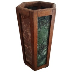 Dutch Art Deco Oak Umbrella Stand with Marbled Glass Panels, circa 1930s