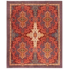Dutch Art Deco Purple, Beige, Burgundy and Orange Handmade Rug by Jaap Gidding