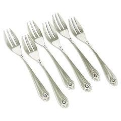 Dutch Art Deco Silver Cake Forks by W. Hooijkaas, 1920s