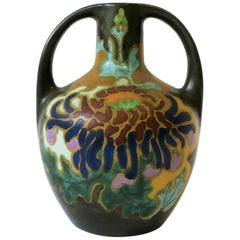 Dutch Art Nouveau Amphora Matte Pottery Vase