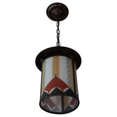 Dutch Arts & Crafts Stained Glass and Brass Entrance or Hallway Pendant Light