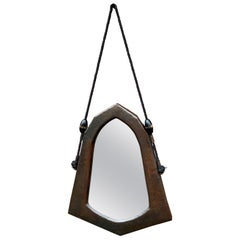 Dutch Arts & Crafts Hand Hammered Copper Wall Mirror of Practical Size, 1910s