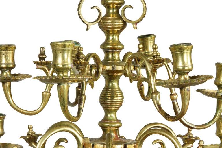 Dutch Baroque Brass Twelve Light Chandelier In Good Condition For Sale In Essex, MA