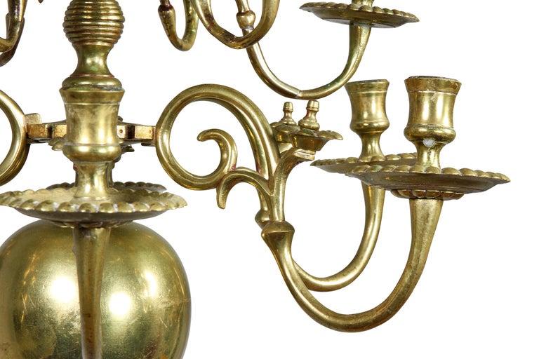 18th Century Dutch Baroque Brass Twelve Light Chandelier For Sale