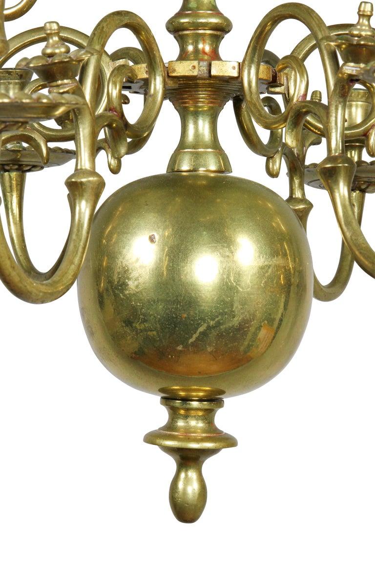 Dutch Baroque Brass Twelve Light Chandelier For Sale 1