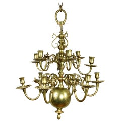 Dutch Baroque Brass Twelve Light Chandelier