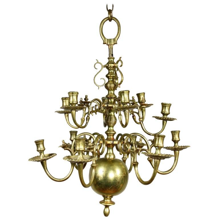 Dutch Baroque Brass Twelve Light Chandelier For Sale