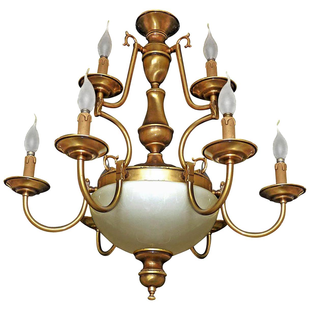 Dutch Baroque Colonial Style Brass & Opaline Glass Two-Tier 12-Light Chandelier