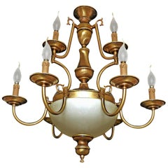 Dutch Baroque Colonial Style Brass & Opaline Glass Two-Tier 12-Light Chandelier
