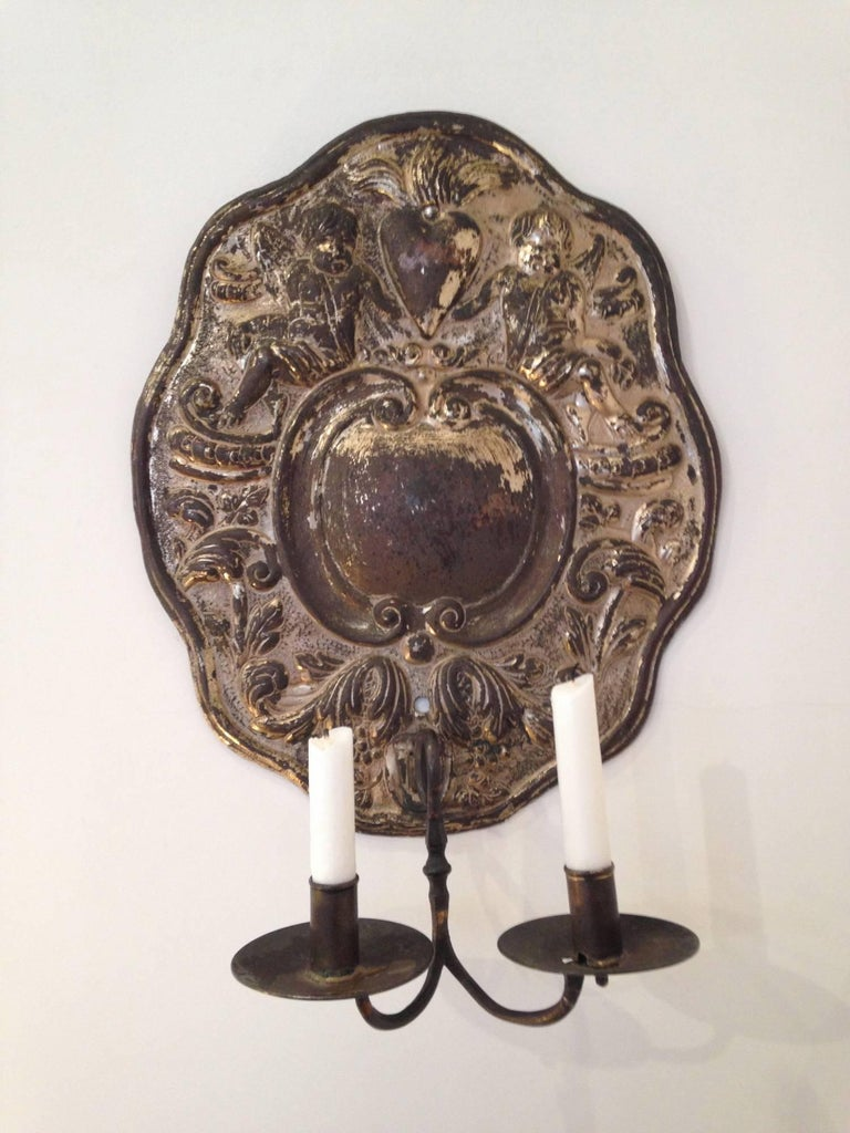 Dutch Baroque Double Arm Sconces Silver Plated Origin