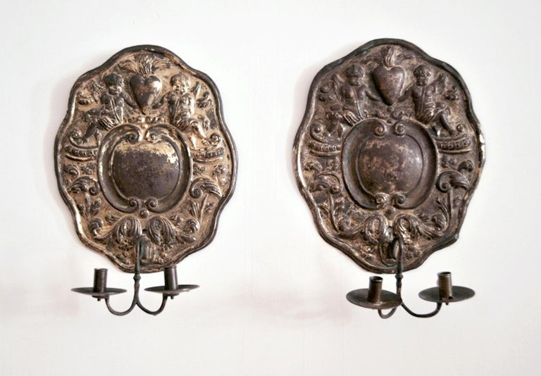 18th Century and Earlier Dutch Baroque Double-Arm Sconces, Silver-Plated, Origin: Holland, Circa 1760 For Sale