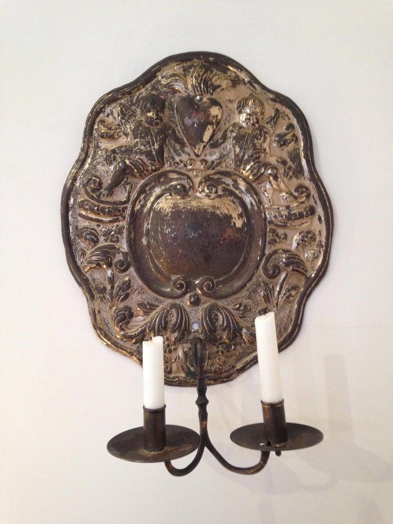 Silver Plate Dutch Baroque Double-Arm Sconces, Silver-Plated, Origin: Holland, Circa 1760 For Sale