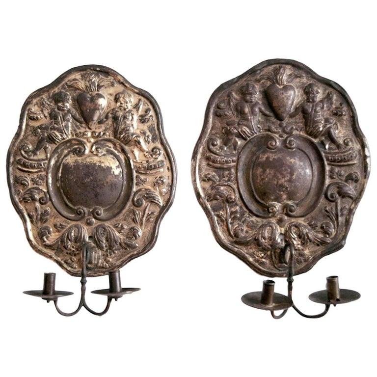 Dutch Baroque Double-Arm Sconces, Silver-Plated, Origin: Holland, Circa 1760 For Sale