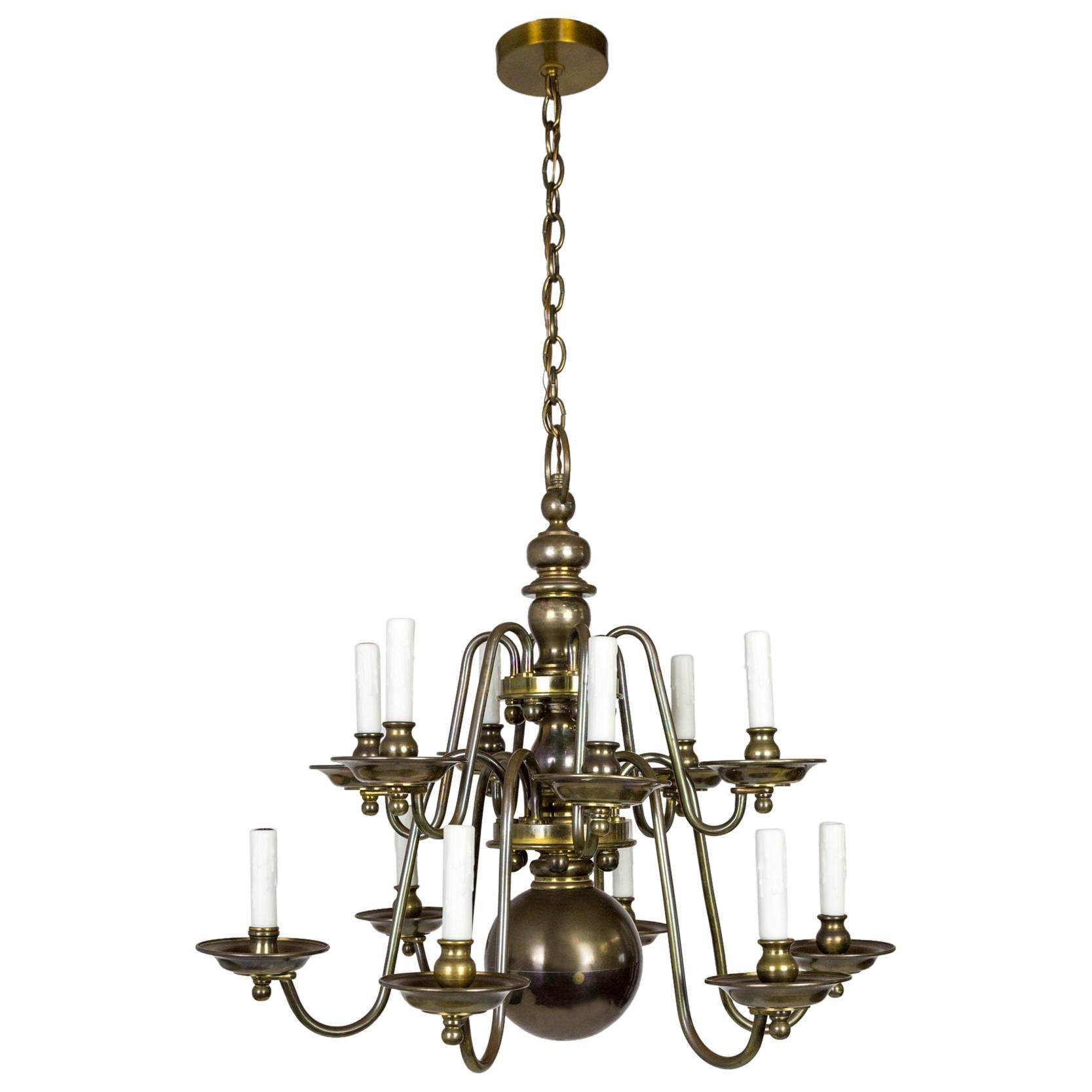 Dutch Baroque Style 2-Tier Aged Brass 12-Light Chandelier