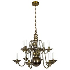 Dutch Baroque Style 2-Tier Aged Brass 12-Light Chandelier