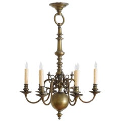 Dutch Baroque Style Patinated Brass 6-Light Chandelier, Late 19th Century
