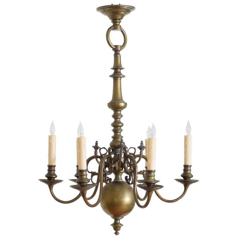 Dutch Baroque Style Patinated Brass 6, Catania Vintage French Country Wood 6 Light Chandelier