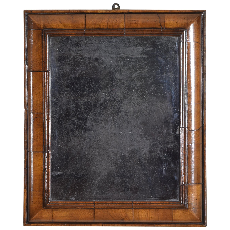 Dutch Baroque Walnut Cushion Form Mirror, Late 17th-Early 18th Century