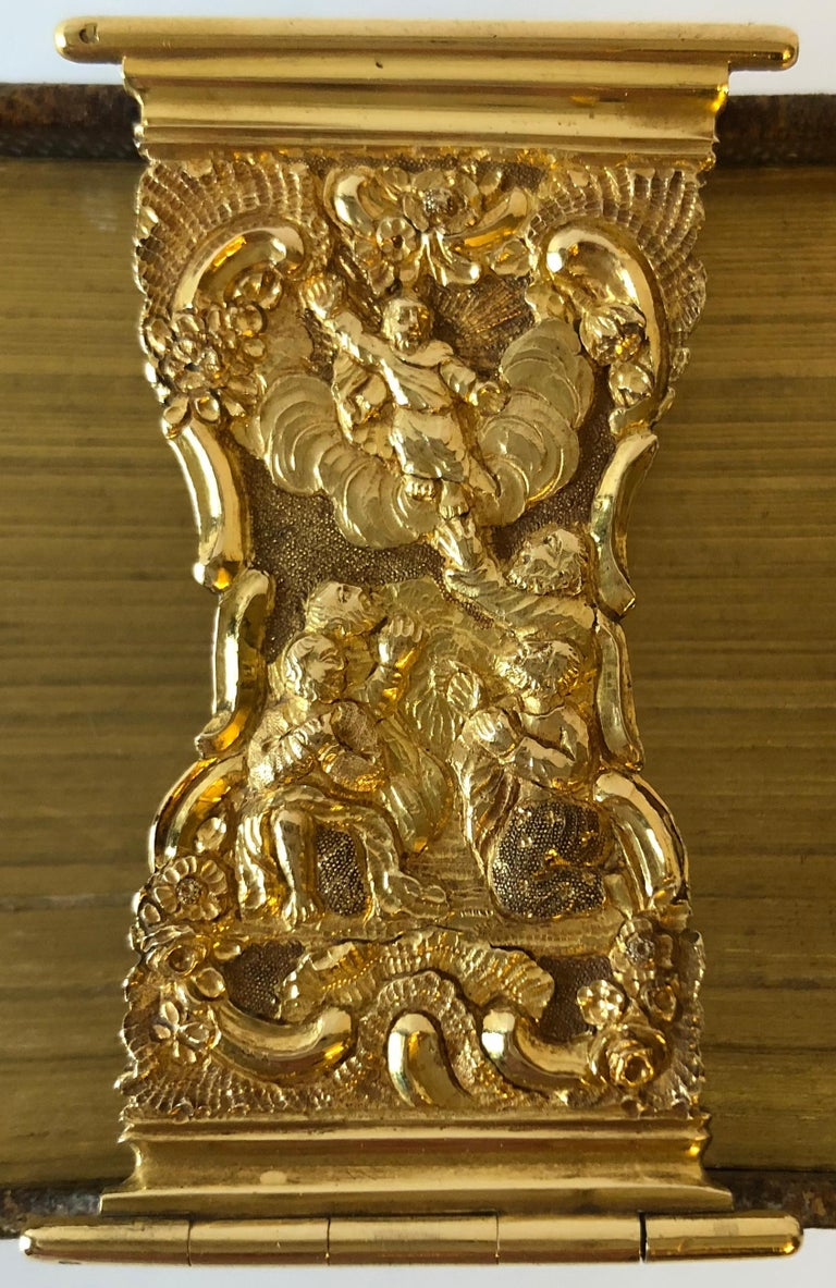 Embossed Dutch Bible with Gold Bookclasps For Sale