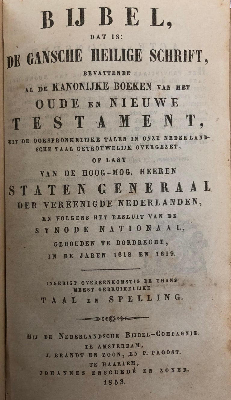 Dutch Bible with Gold Bookclasps For Sale 3