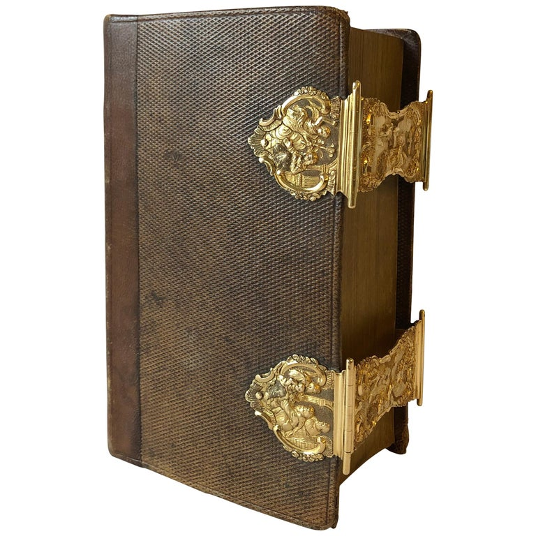 Dutch Bible with Gold Bookclasps For Sale