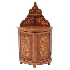 Dutch Biedermeier Padouk Corner Cabinet with Marqueterie, 1830s