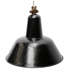 Dutch Black Enamel Vintage Industrial Factory Pendant Lamp