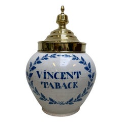 Dutch Blue and White Hand Painted and Glazed Delft Tobacco Jar, circa 1770