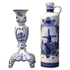 Dutch Blue and White Painted Faience Delft Olive Oil Bottle and Candle Holder