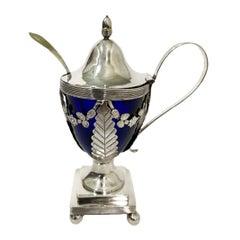 Dutch Blue Crystal Mustard Pot with Silver Mount by Jan Van Der Cop, 1833