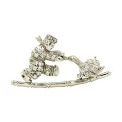 Dutch Boy Child and Goose Figural Diamond White Gold Brooch Pin