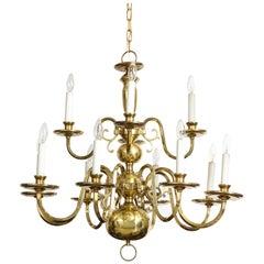 Dutch Brass Colonial 12-Arm Chandelier