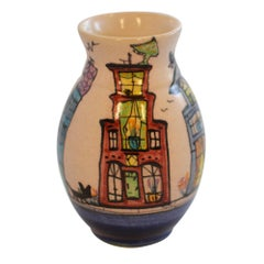 Dutch Canal Front Home Hand Painted Bud Vase Cat on Blue House