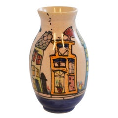 Dutch Canal Front Home Hand Painted Bud Vase Cat on Gray House