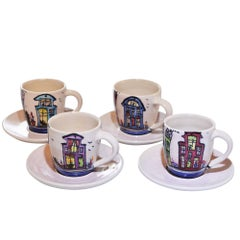 Dutch Canal Home Design Handmade Espresso Cups with Underplates Set of 4