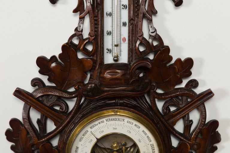 Dutch Carved Wooden Barometer with Horse Motif by Gebroeders Caminada, Rotterdam For Sale 5
