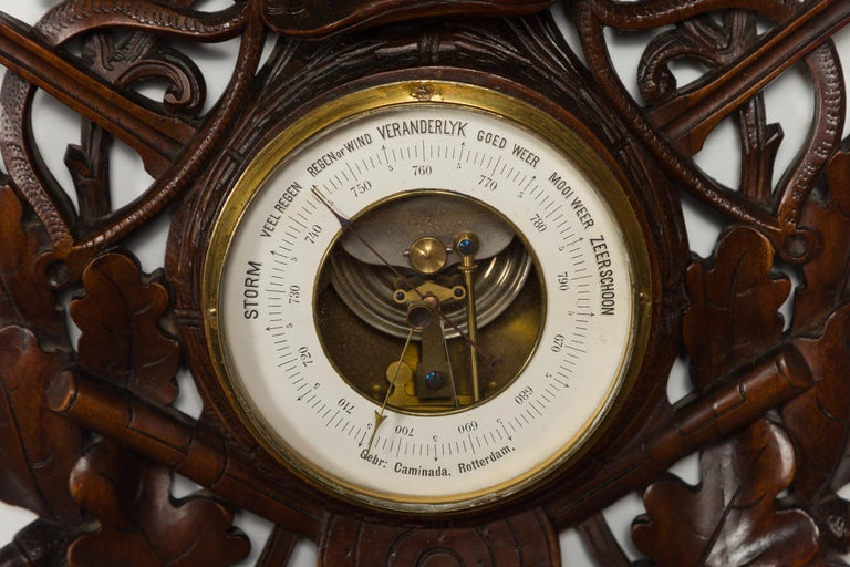 Dutch Carved Wooden Barometer with Horse Motif by Gebroeders Caminada, Rotterdam For Sale 6