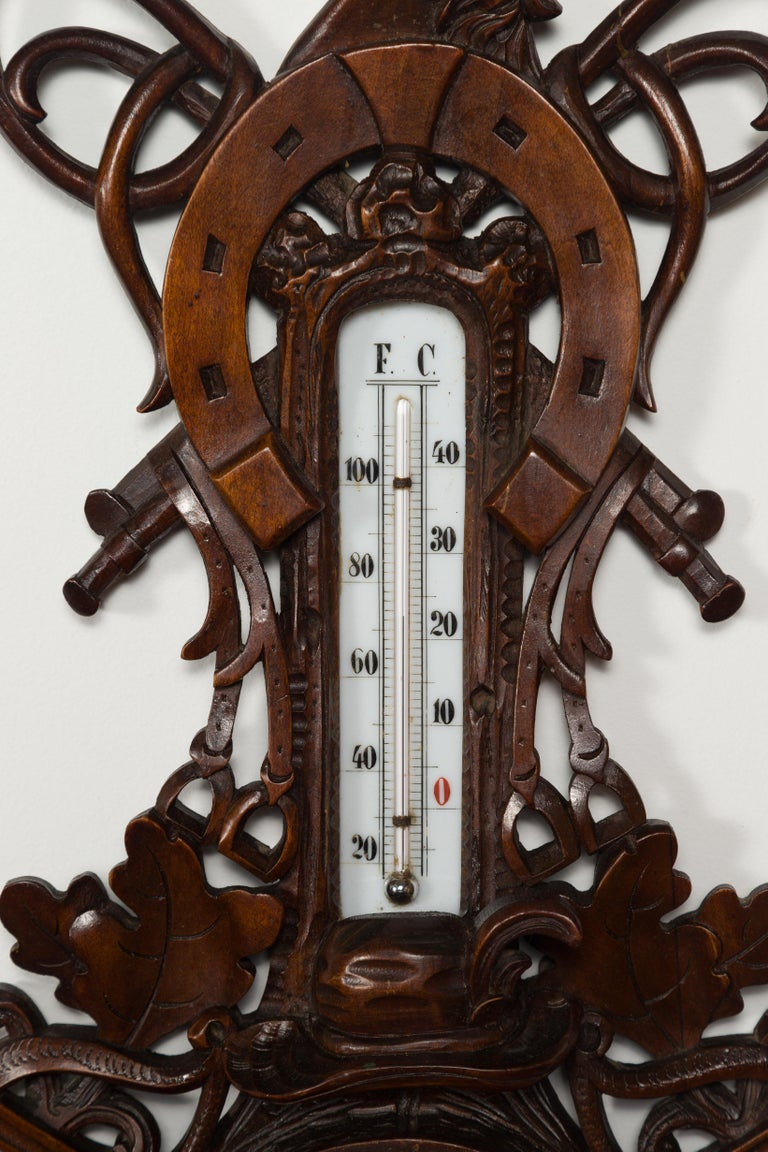 Dutch Carved Wooden Barometer with Horse Motif by Gebroeders Caminada, Rotterdam For Sale 7
