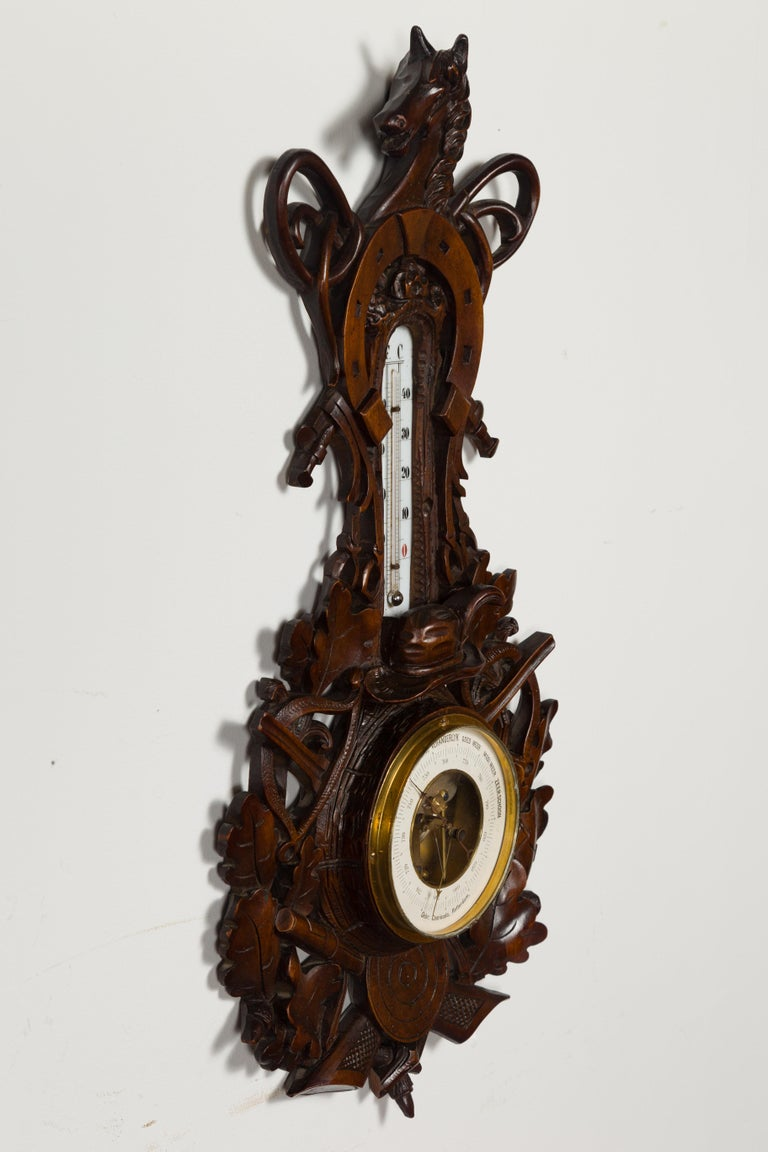 Dutch Carved Wooden Barometer with Horse Motif by Gebroeders Caminada, Rotterdam For Sale 8