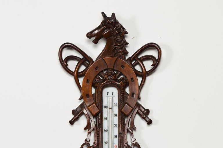 Dutch Carved Wooden Barometer with Horse Motif by Gebroeders Caminada, Rotterdam In Good Condition For Sale In Atlanta, GA