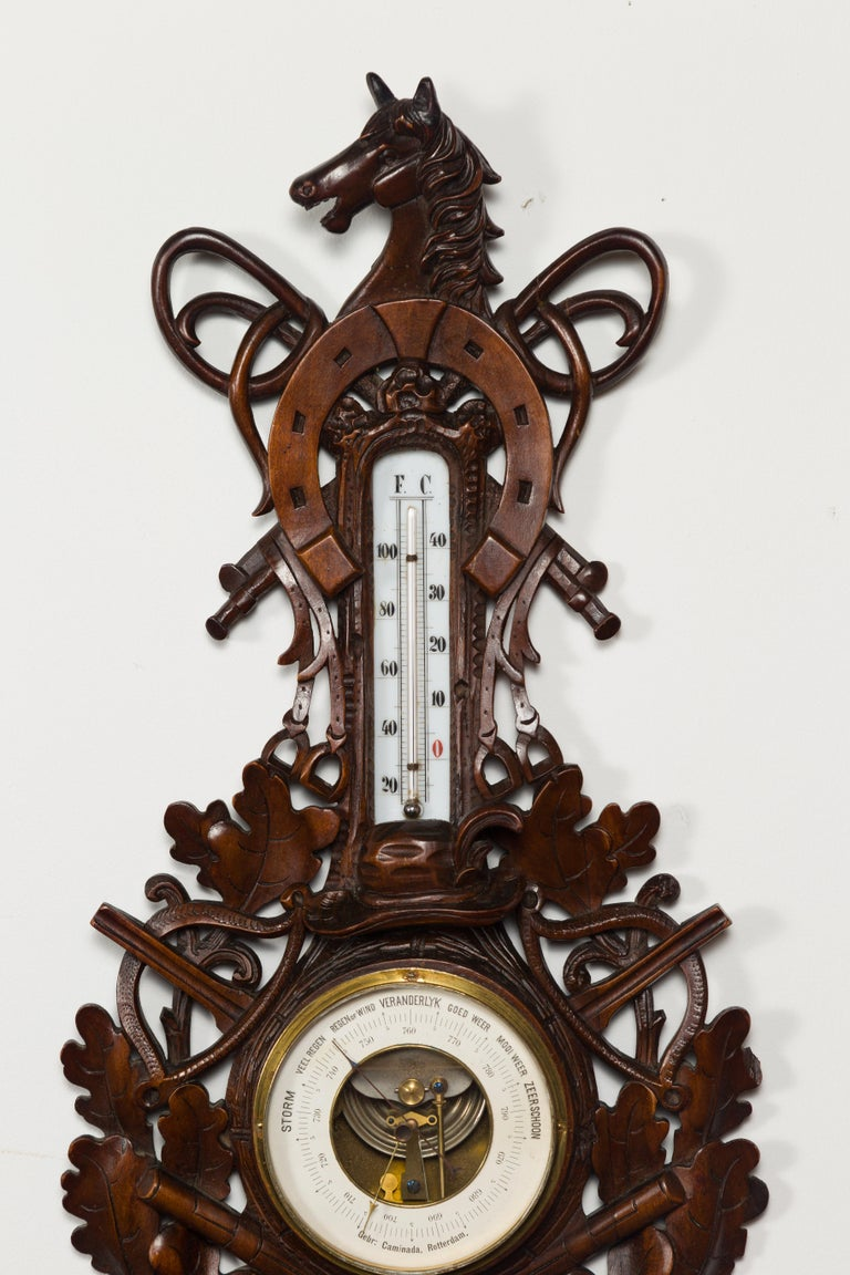 19th Century Dutch Carved Wooden Barometer with Horse Motif by Gebroeders Caminada, Rotterdam For Sale