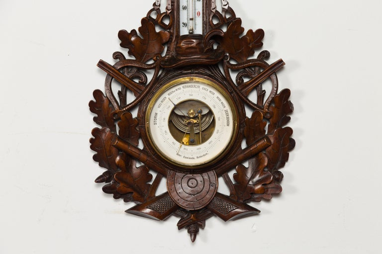 Glass Dutch Carved Wooden Barometer with Horse Motif by Gebroeders Caminada, Rotterdam For Sale