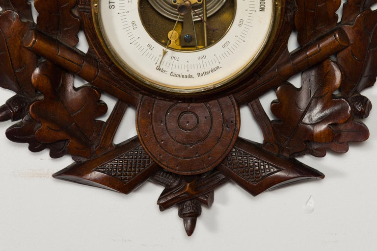 Dutch Carved Wooden Barometer with Horse Motif by Gebroeders Caminada, Rotterdam For Sale 1