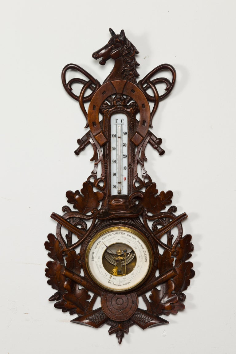 Dutch Carved Wooden Barometer with Horse Motif by Gebroeders Caminada, Rotterdam For Sale 2