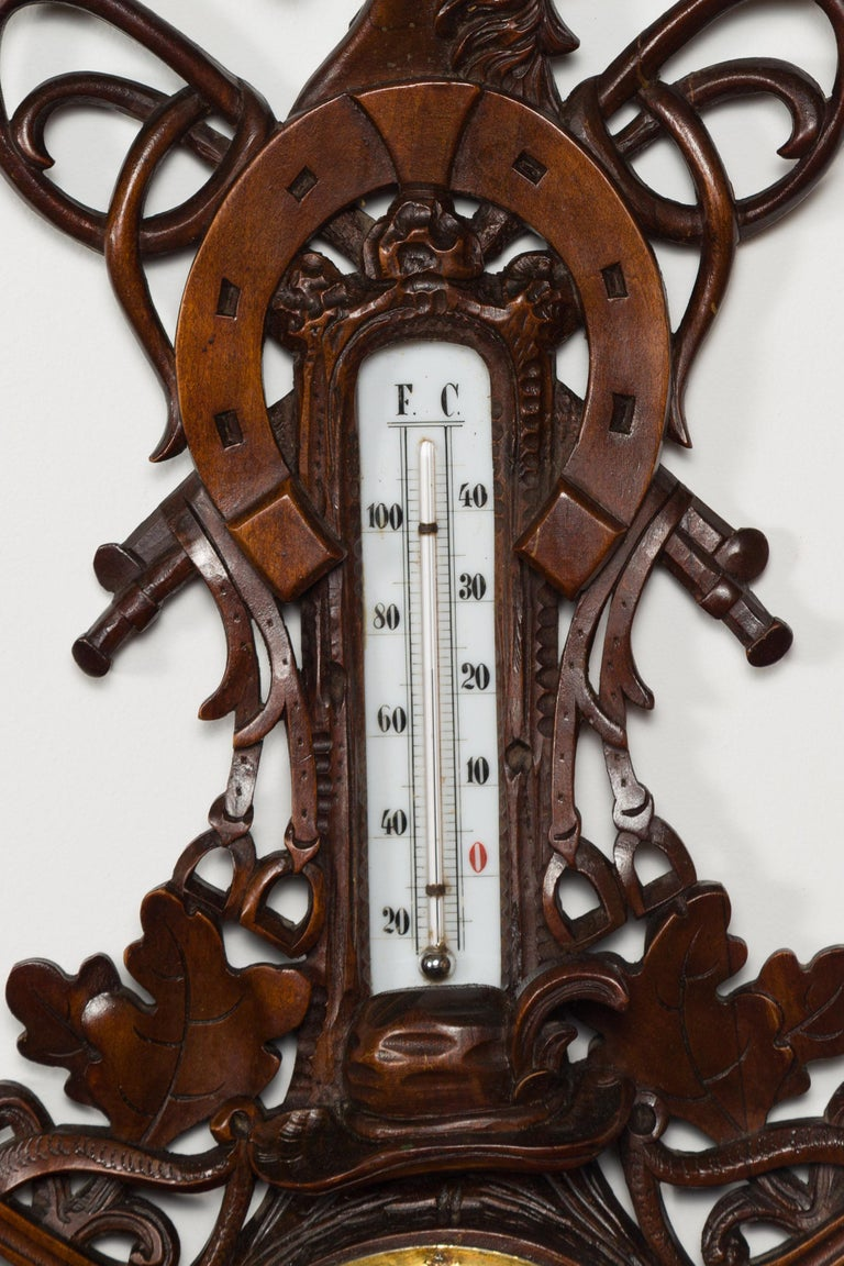 Dutch Carved Wooden Barometer with Horse Motif by Gebroeders Caminada, Rotterdam For Sale 3
