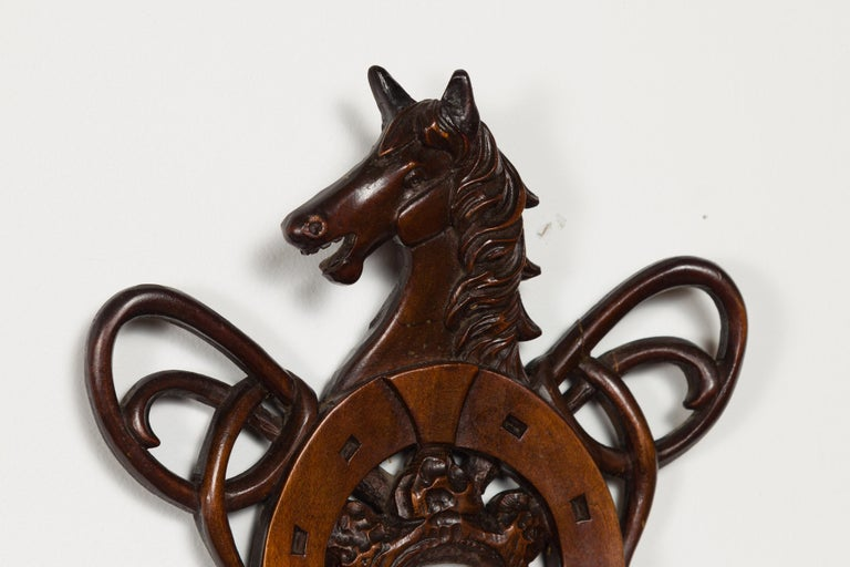 Dutch Carved Wooden Barometer with Horse Motif by Gebroeders Caminada, Rotterdam For Sale 4