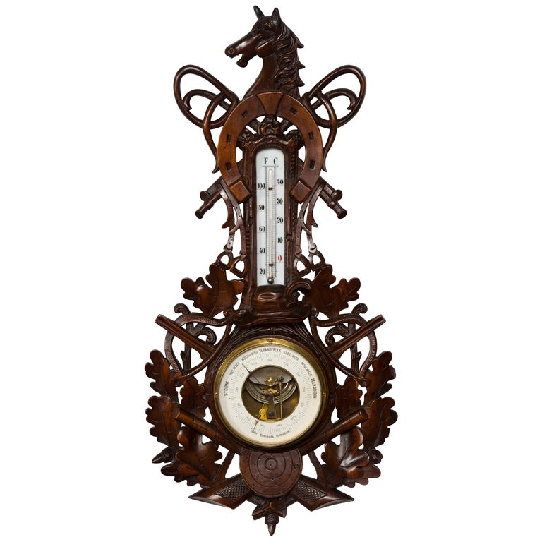 Dutch Carved Wooden Barometer with Horse Motif by Gebroeders Caminada, Rotterdam For Sale