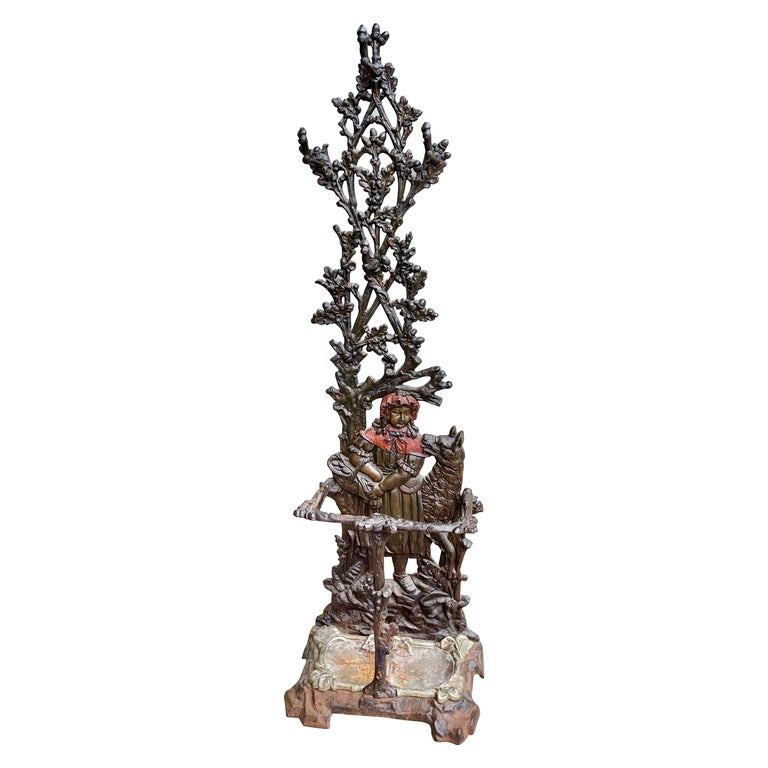 Dutch Cast Iron Hall Stand Red Riding Hood & the Wolf For Sale
